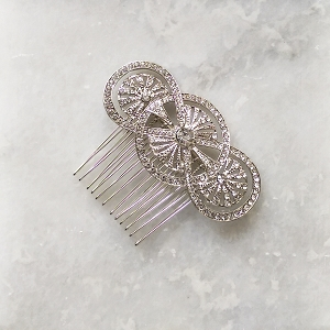 Silver art deco hair comb, silver crystal hair comb