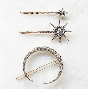Celestial Night Sky Hair clip set - Moon and star hair accessories