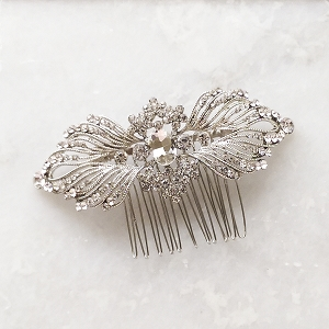 Silver art deco vintage style hair comb, silver crystal hair comb
