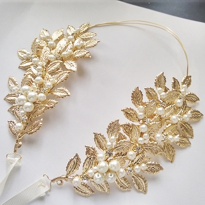 grecian inspired boho leaves bridal hair halo, bridal headpiece