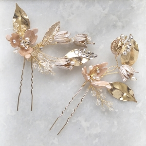 Floral Hair Pin for Wedding - Gold, Set of 2