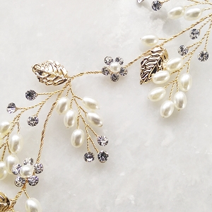 Bridal Hair Vine - Gold Leaf and Pearl