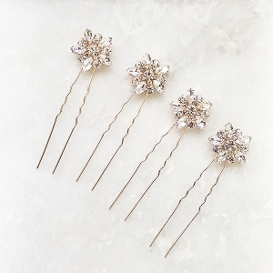 Art Deco Crystal Hair Pins for Wedding - Rose Gold Set of  4