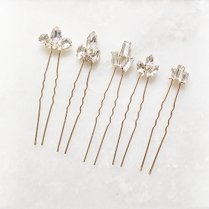 Art Deco Crystal Hair Pins for Wedding - Rose Gold Set of  5