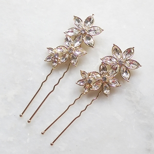 floral crystal hair pins rose gold - set of 2