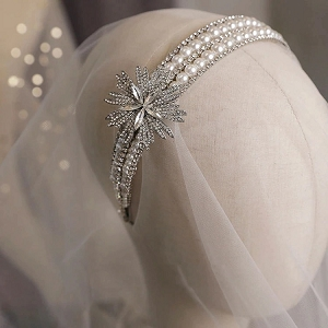 Silver Art Deco Inspired Gatsby Pearl Headband