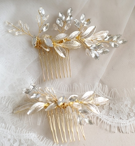 Gold leaf hair comb with opal and clear crystals