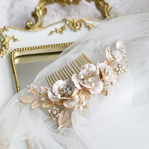 Vintage Style Pastel Pink Floral Bridal Haircomb
