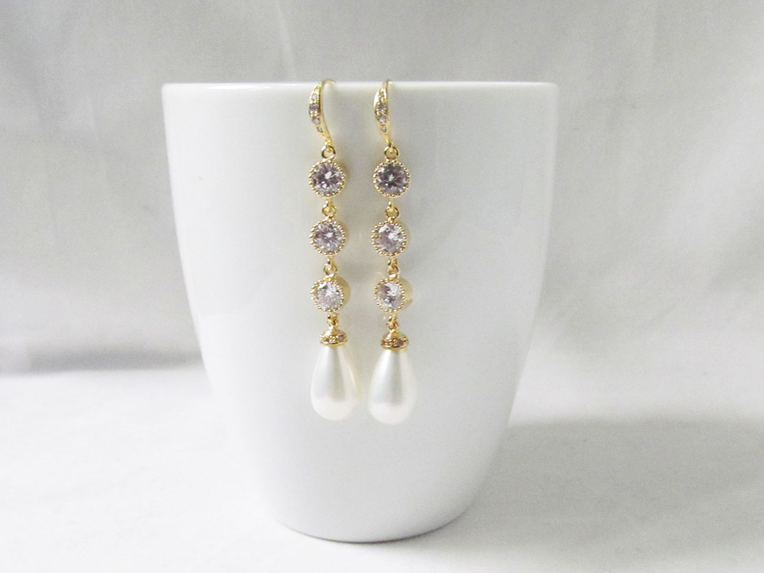 Long Pearl Crystal Earrings - Gold
