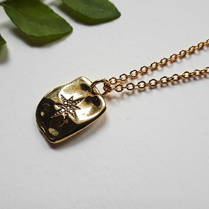 Celestial Star Square Pendant Necklace - Gold