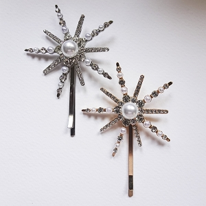star bobby pin pearl and rhinestone boho wedding hair accessories