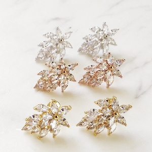 Marquise stud earrings - rose gold, gold and silver, cubic zirconia bridal earrings, dainty bridal stud earrings