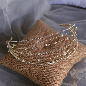 celestial bridal crown with dainty star details