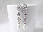 Long Pearl Crystal Earrings - Silver