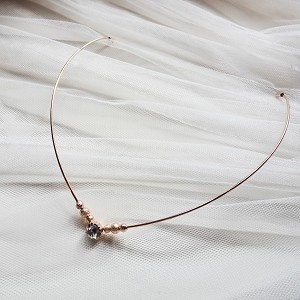 Rose gold Reverse headband with crystal , backwards tiara