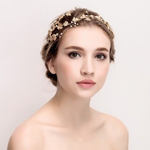 Boho Bridal Hair Crown - Gold leaf and Rhinestones