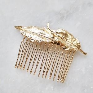 Gold leaf bridal hair comb, small bridal hair comb