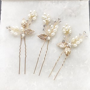 Pearl and leaf bridal hair pins wedding set of  3