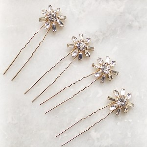 Art Deco Bridal Crystal Hair Pins for Wedding - Rose Gold Set of 4