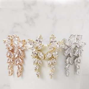 Marquise drop earrings rose gold, gold and silver cubic zirconnia bridal earrings